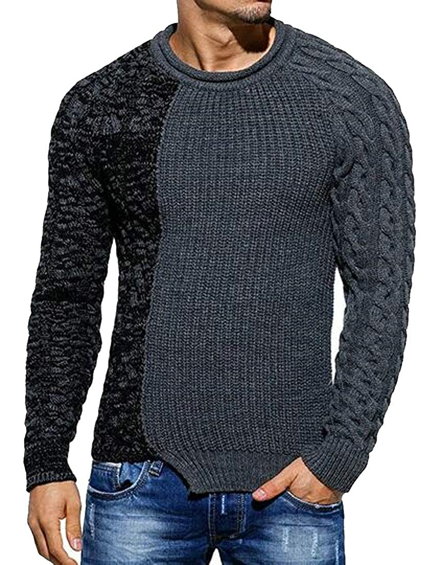 pipigo Men Round Neck Long Sleeve Color Block Fall Winter Knitted Pullover Sweaters