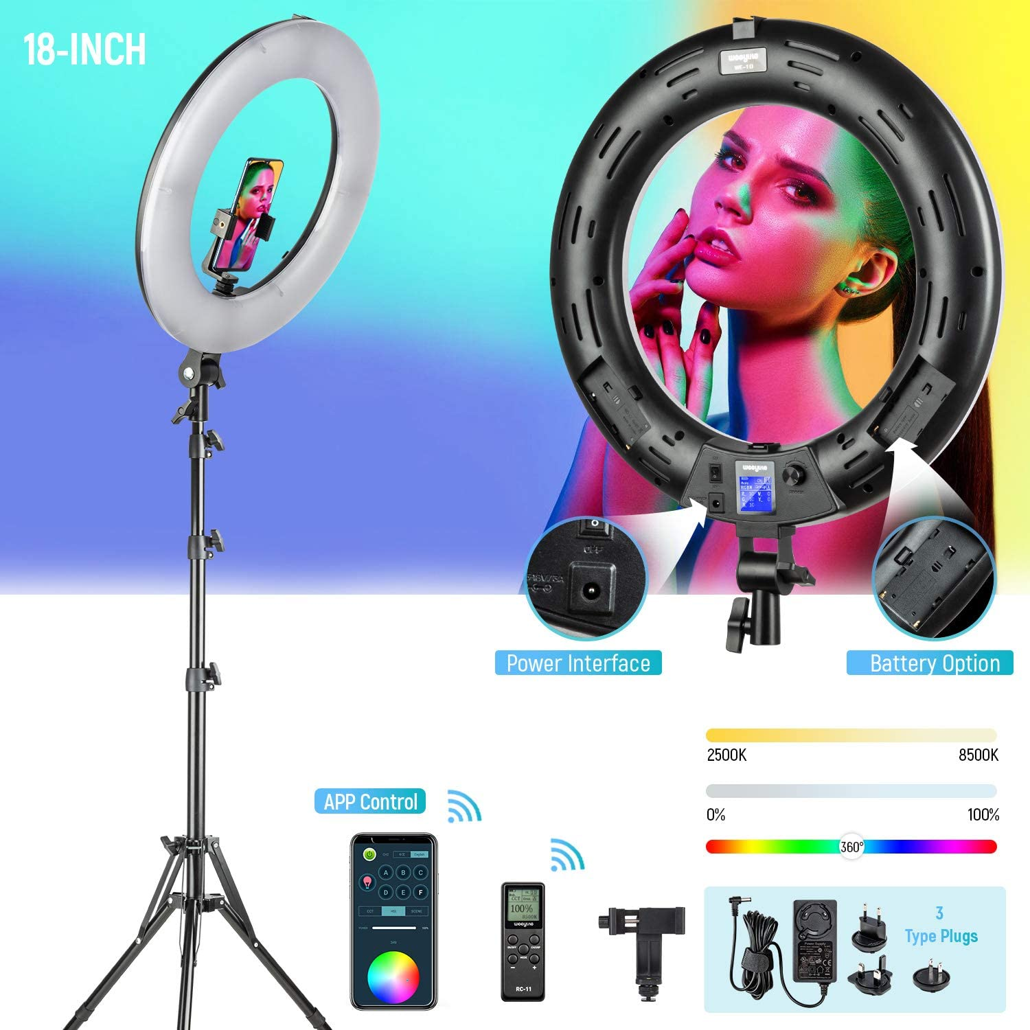 RGB LED Ring Light with Stand/Phone Holder/Remote Controller/APP Control, 18-inch Dimmable Bi-Color 2500K-8500K CRI95 with 17 Special Scenes 3 Type Plugs DC Adapter for Makeup Selfie Video Photography