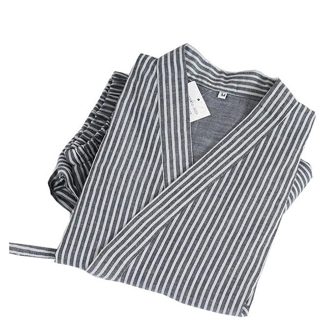 Trajes de Estilo japonés de los Hombres Traje de Pijama de algodón Puro Kimono Pijama Set