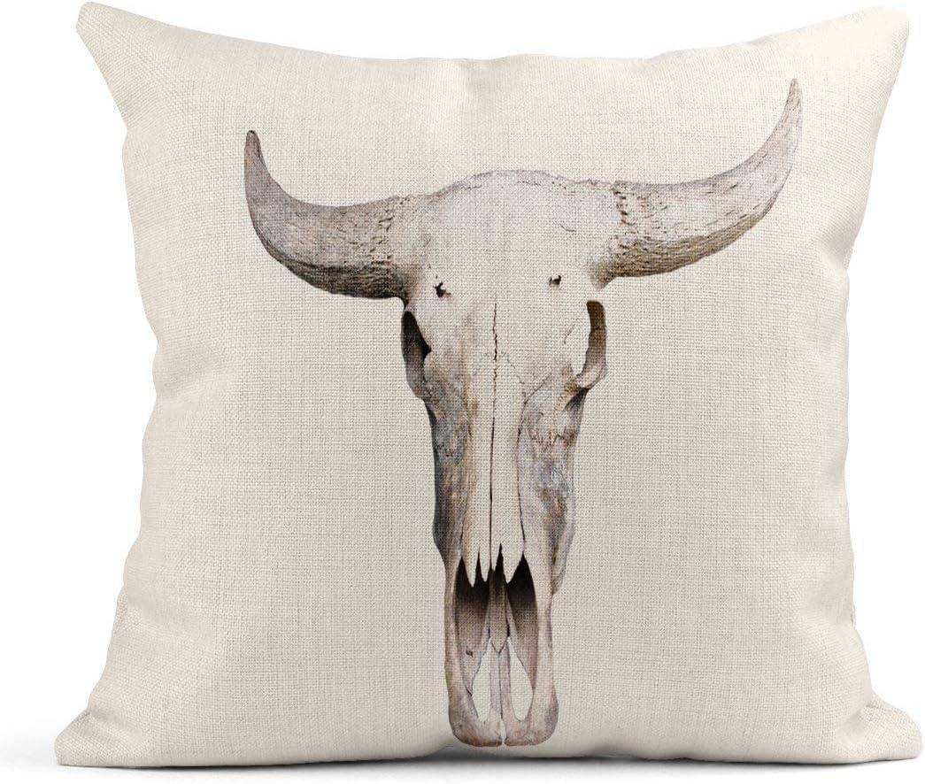 Kinhevao Cojín Vaca Cráneo de búfalo en Cabeza de Hueso ...