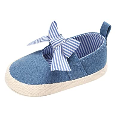 Balai Baby Girls Bowknot Princess Shoes Anti-Slip Canvas First Walking Shoes