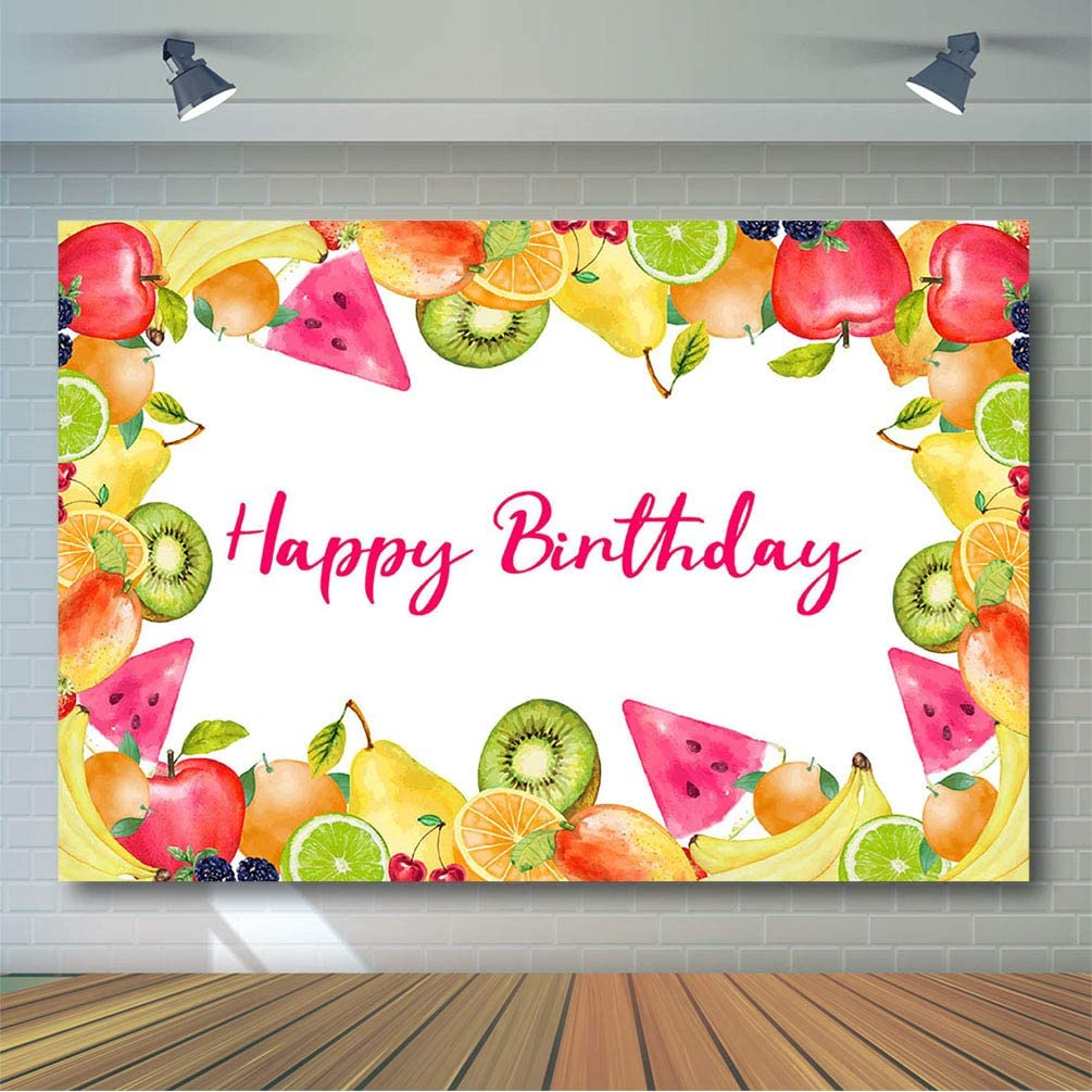 COMOPHOTO 10x7ft Fruit Birthday Backdrop Decorations Tutti Frutti Girl 1st Birthday Photo Booth Background Summer Happy Birthday Party Banner Supplies Backdrops