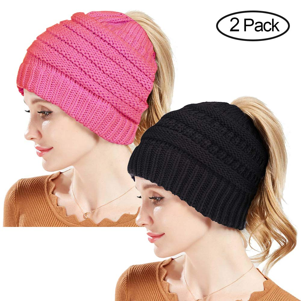 1aadde19abbb80 Amazon.com: Rosoz Winter Ponytail Beanie for Women,Warm Beanie Tail Soft  Stretch Cable Knit Messy High Bun Beanie Hat Cap  (Style1-2Pack(Black+Beige)): ...