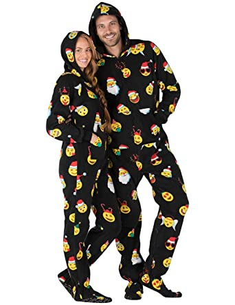 4e0af14dcf Footed Pajamas - Merry Emoji Xmas Adult Hoodie Fleece Onesie - Double  XL Wide