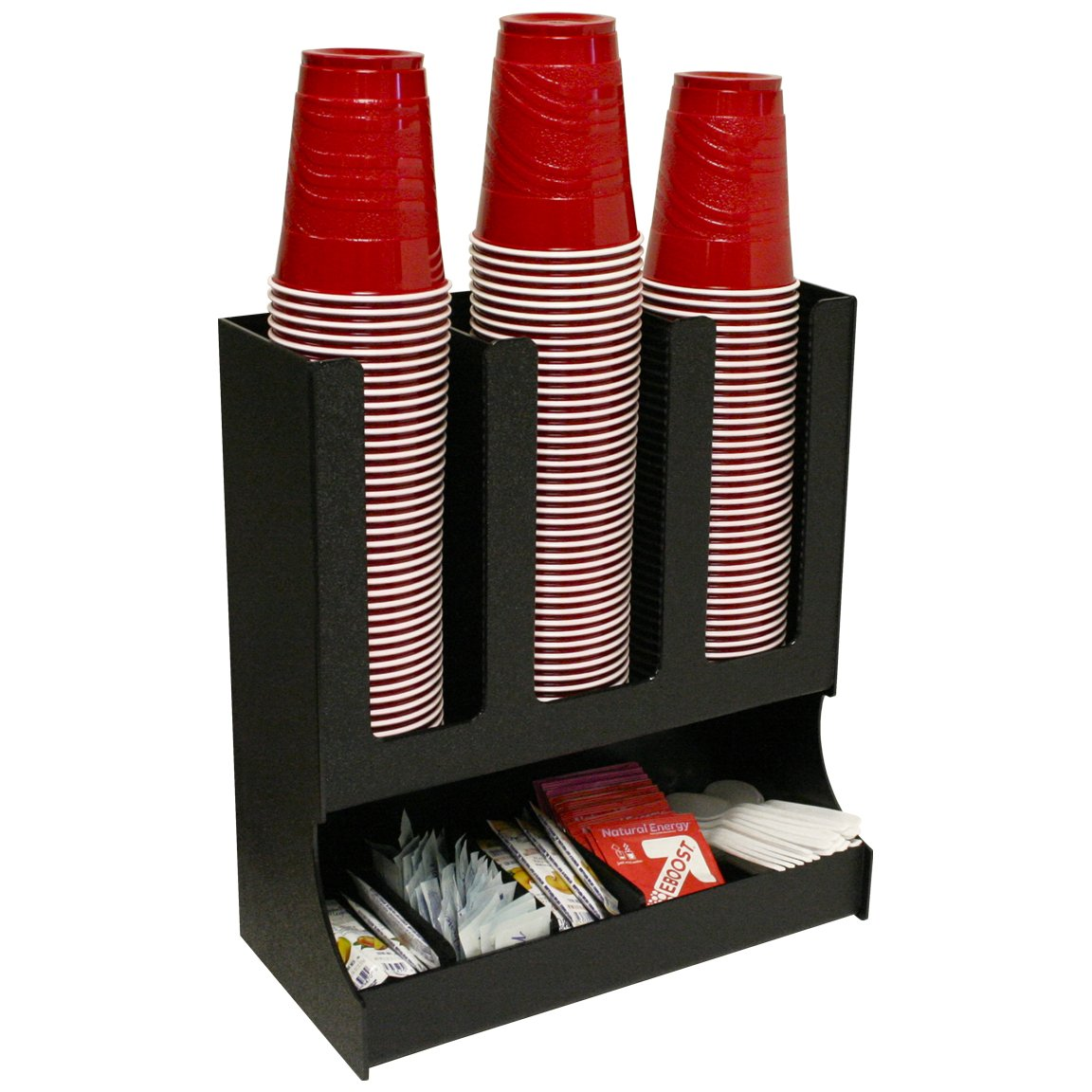 Coffee or Solo Cup Organizer With 3 Movable Dividers. Can Hold Powdered Drink Packets or Creamers and Sugars. Great for Office or At Home. Proudly Made in USA! and Made by PPM.