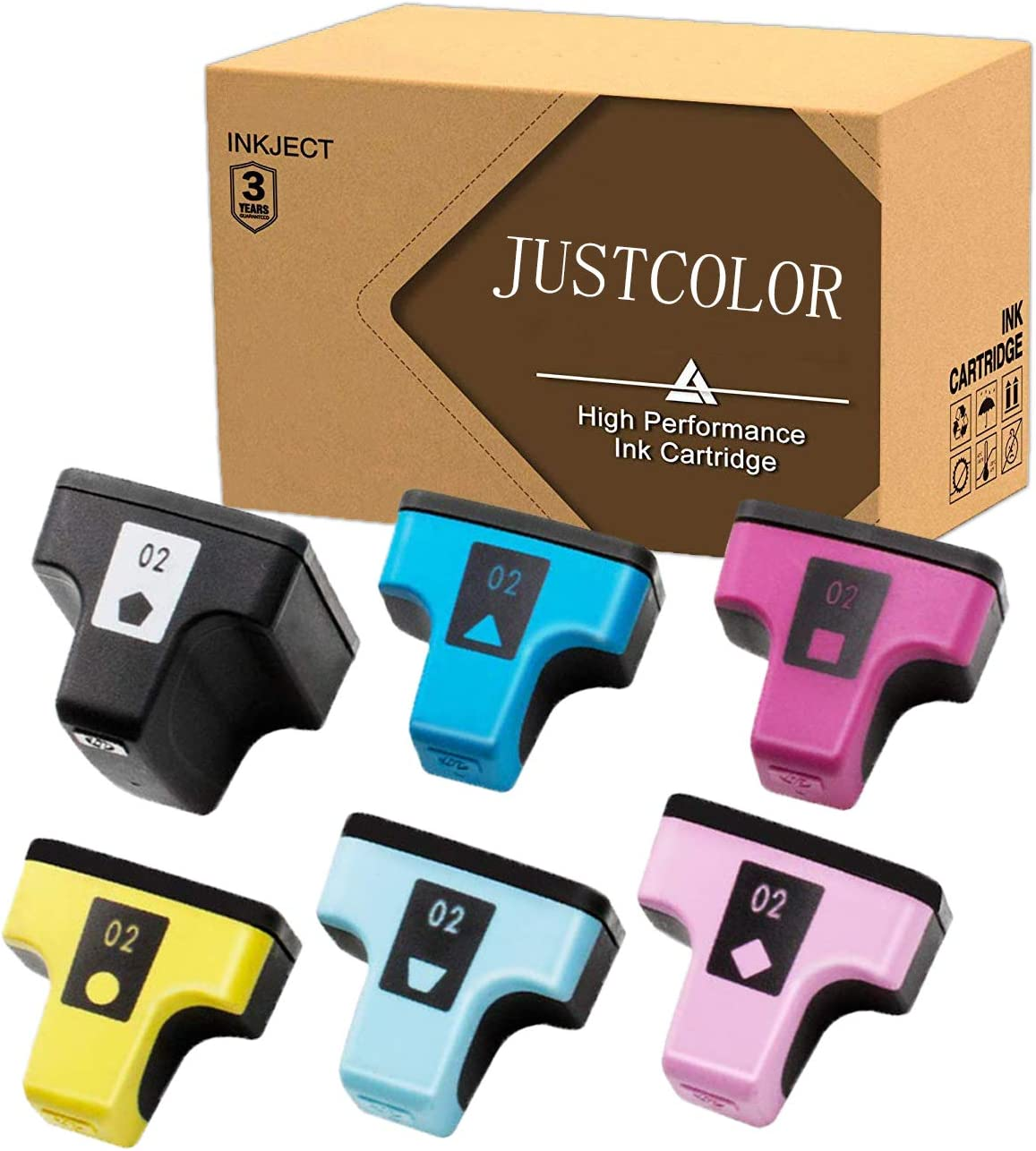 JUSTCOLOR Remanufactured Ink Cartridge Replacement for HP 02 Q7964AN use for PhotoSmart C7280 C6280 C5180 C6180 D7360 D7460 8250 C7200 (Black/Cyan/Magenta/Yellow/Light Cyan/Light Magenta) 6 Pack
