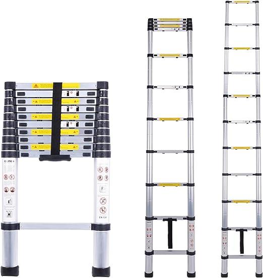 Escalera telescópica multiusos de aluminio portátil Escalera plegable y extensible EN131 y normas CE(3.2M): Amazon.es: Bricolaje y herramientas