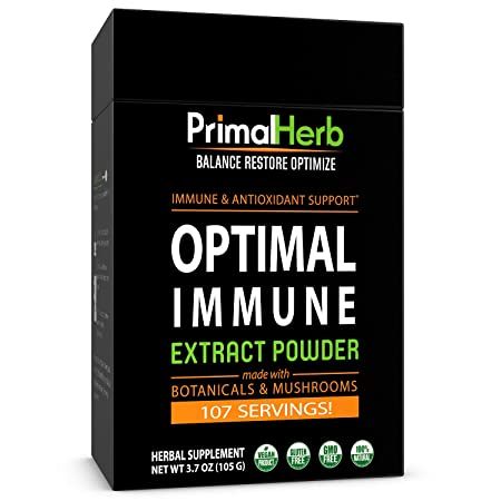 Immune Wellness Support Formula by Primal Herb Super Antioxidant Medicinal Mushrooms Herbal Extract Powder – 96 Servings – Includes Bamboo Spoon