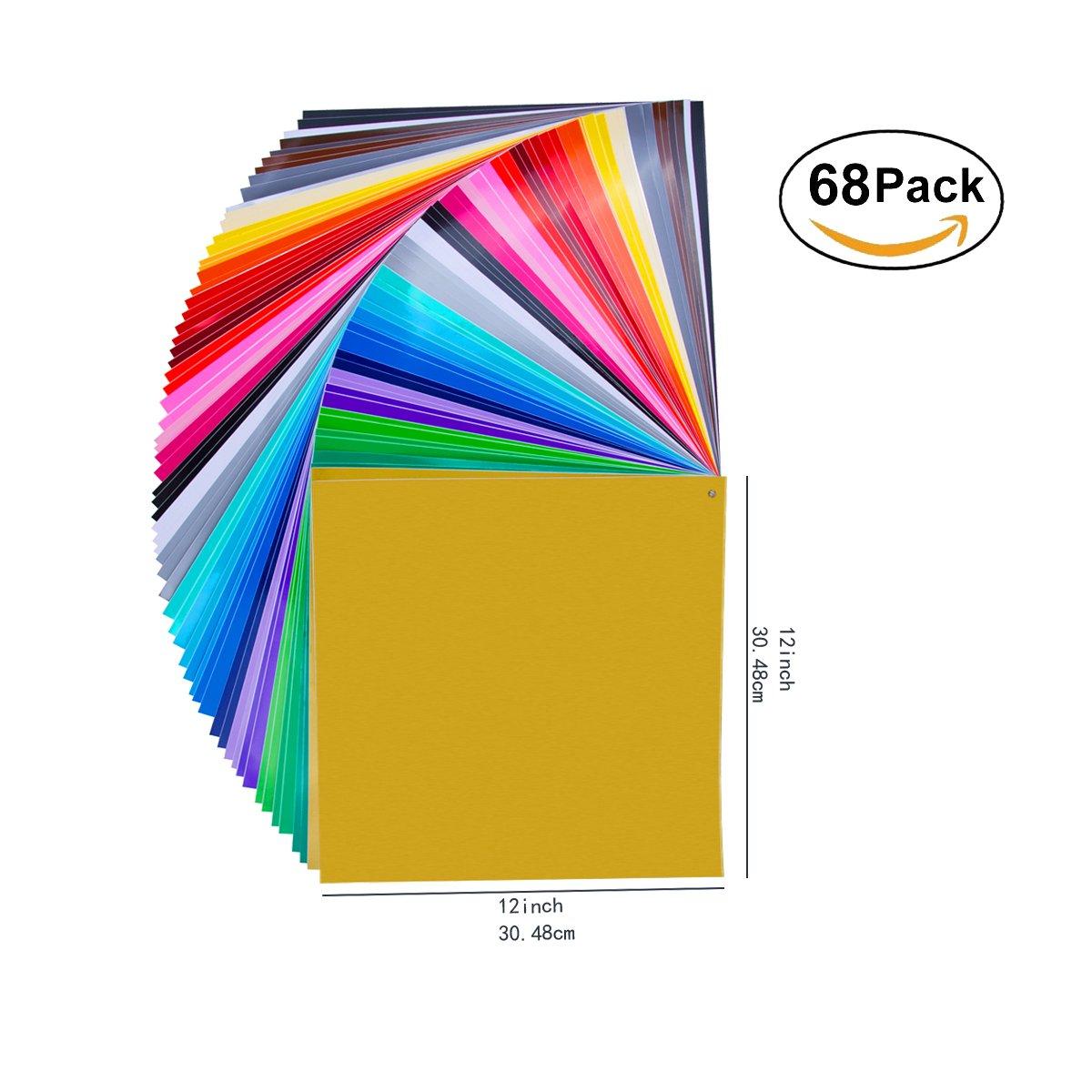 32 colori 68 pacchi 12 X 12 Premium permanente autoadesivi fogli di vinile colori assortiti