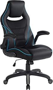 OSP Furniture Xeno Ergonomic Adjustable Gaming Chair, Black with Blue Accents