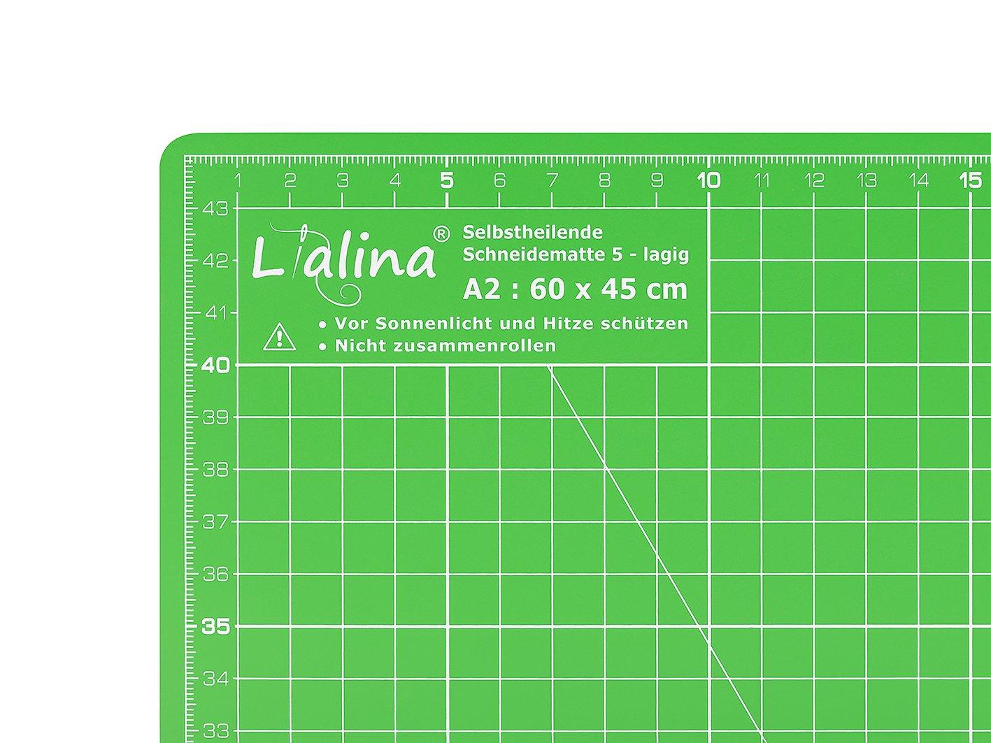 Taglierina a Rotella 45mm Righello Universale 15x30cm Lialina/® Kit Patchwork Piano da Taglio Autorigenerante 60x45cm