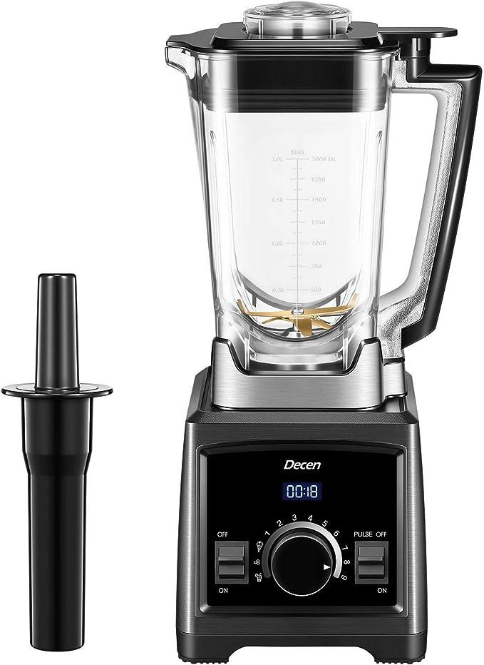 Mixer Smoothie Maker, Decen 2000W Standmixer, 35.000 U/min Smoothie Blender, 2L Tritan-Behälter ohne BPA Multifunktion Smoothiemaker 3 Programme, 9 Geschwindigkeiten, Selbstreinigung und LED-Anzeige
