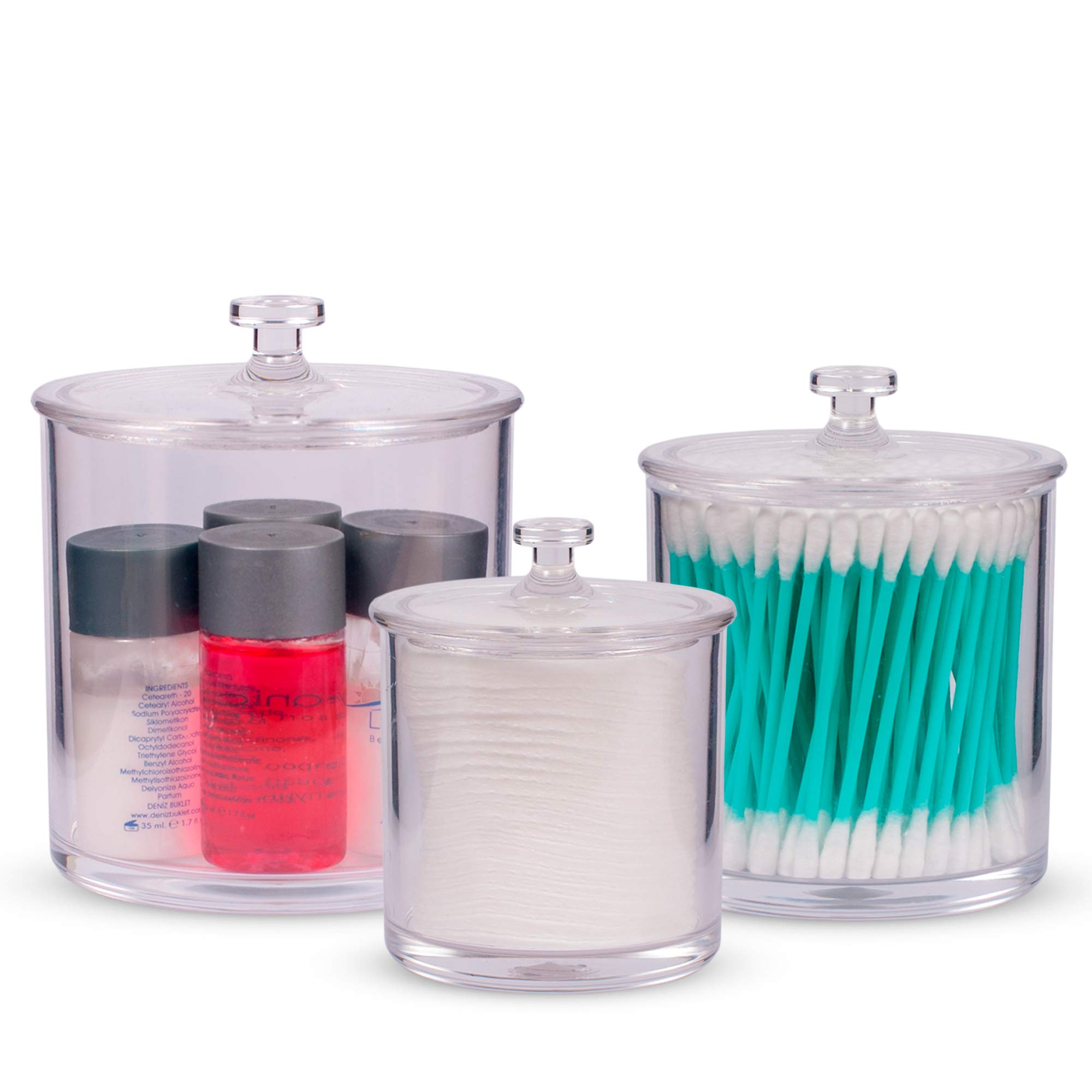Superior Quality Plastic Apothecary Jars with Lids   Set of 3 by Luxe & Frill. Acrylic Bathroom Organizer, Crystal Clear Canister/Container Good for Q-tips and Candy Buffet