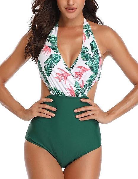heekpek Damen Badeanzug Neckholder V-Ausschnitt Rückenfrei Einteiliger BH Bademode Bauchweg Cut Out Strandbikini Shape Bandea