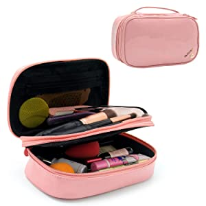 Relavel Makeup Bag Small Travel Cosmetic Bag for Women Girls Makeup Brushes Bag Portable 2 Layer Cosmetic Case with Brush Organizer Christmas Gift (Pink)