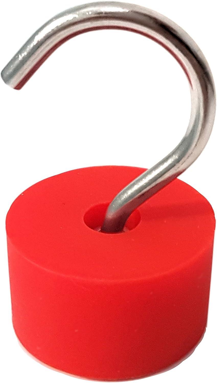 5 hochwertige sehr Starke Neodym Magnethaken Extra Stark /Ø 25 mm 22 kg Haftkraft Haken Abnehmbar in M5 Gewinde