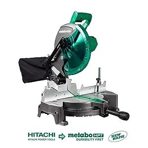 Metabo HPT C10FCGS Compound Miter Saw, 10-Inch, Single Bevel, 15-Amp Motor, 0-52° Miter Angle Range, 0-45° Bevel Range, Large Table, 10