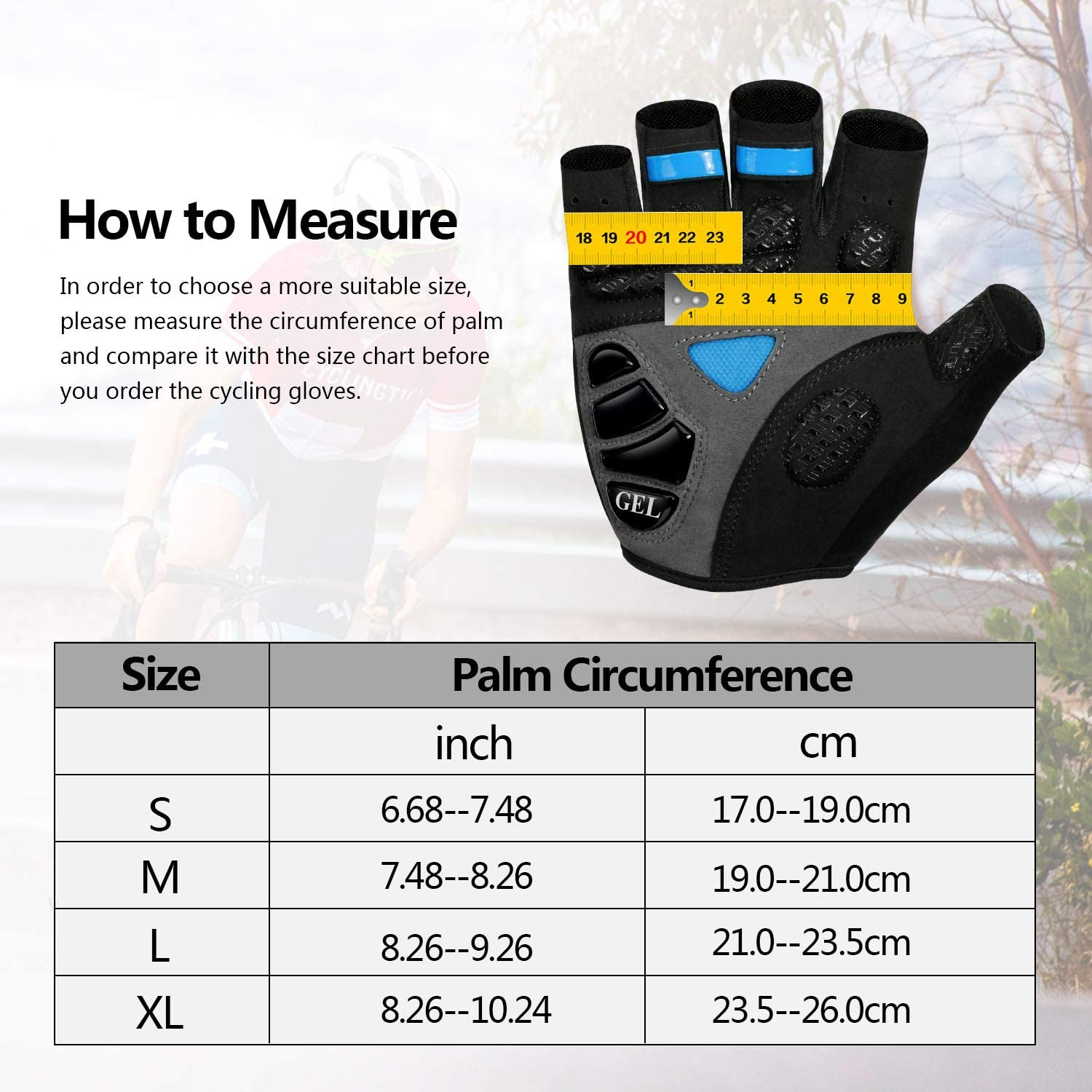 MTB Glove with Shock-Absorbing Pad NICEWIN 6mm SBR Padded Motorcycle Mountain Biking Gloves for Men Women Youth Breathable Mesh for Outdoor Sports Road Cycling