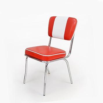 American Retro Stühle 50er & 60er Jahre, 2er Set in Rot-Weiß: Amazon ...