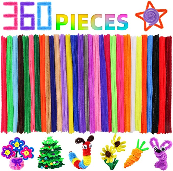 510 Pieces Pipe Cleaners Chenille Stem and Pompoms with Self-adhesiv Wiggle Eyes for Craft DIY Art Supplies HNSHAG Pipe Cleaners Crafts Set