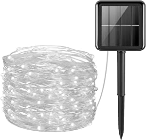 Solar String Lights Outdoor, Solar Fairy Lights 65ft/20m 200 LED 8 Modes Garden Solar Lights Waterproof Garden Lights Copper Wire Lighting for Patio Yard Party Wedding Christmas (White)
