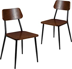 Flash Furniture Stackable Industrial Dining Chair with Gunmetal Steel Frame and Rustic Wood Seat, Set of 2