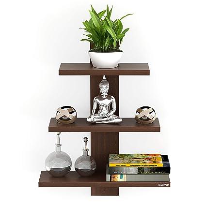 Bluewud Phelix Wall Decor Book Shelf Wall Display Rack 3 Shelves