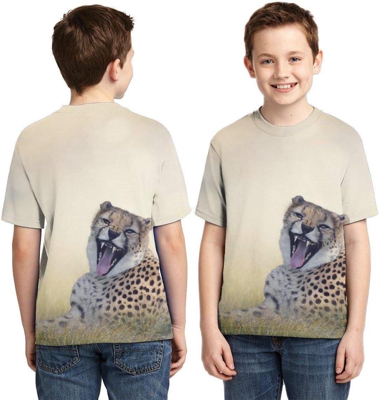 Leopard Panther Glasses Unisex Kids Teens Crewneck Short-Sleeve T-Shirt Girls Boy Fashion Tee Shirts Top S
