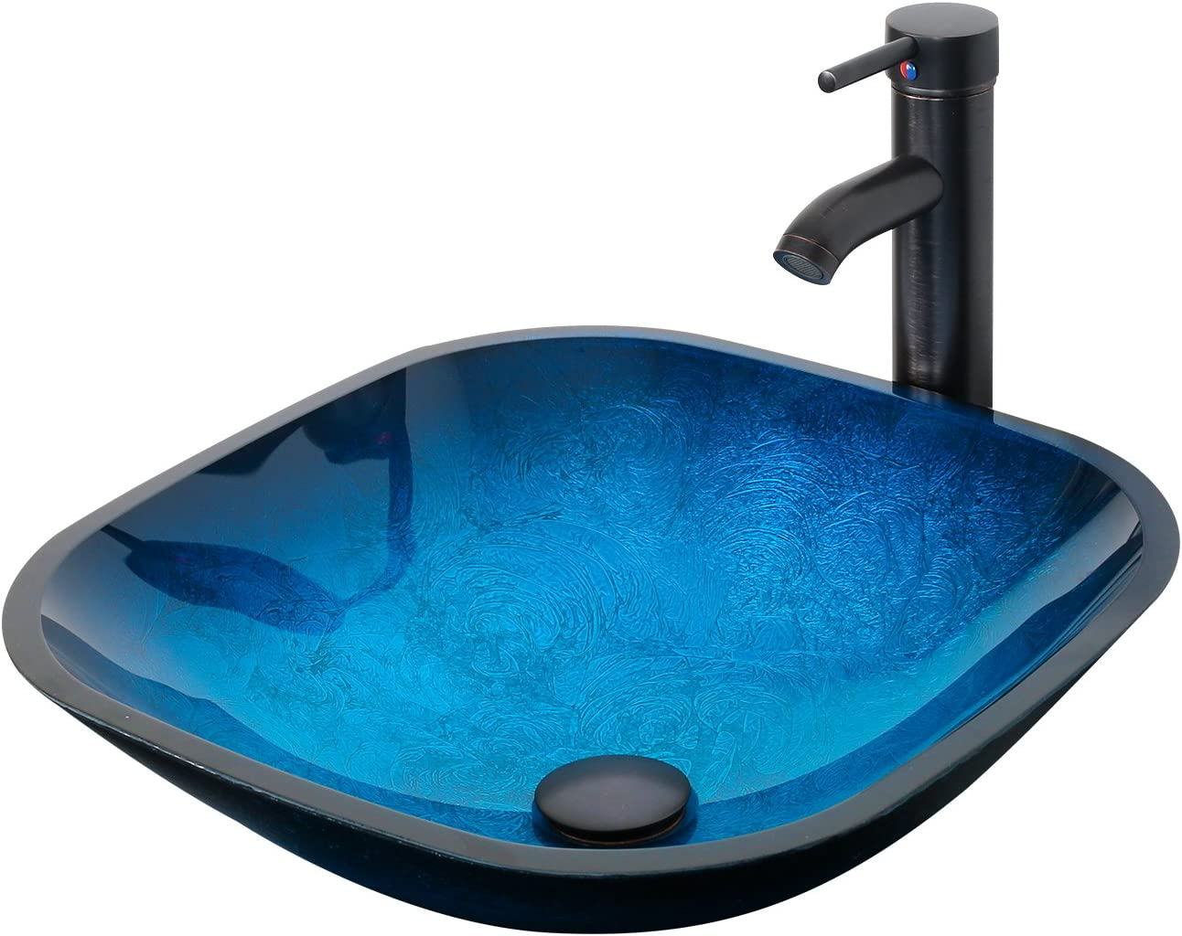 ELECWISH Bathroom Round Vessel Sink Ocean Blue Tempered Glass Above Top Hand Painting Artistic Sink with Oil Rubbed Bronze Faucet /& Pop Up Drain