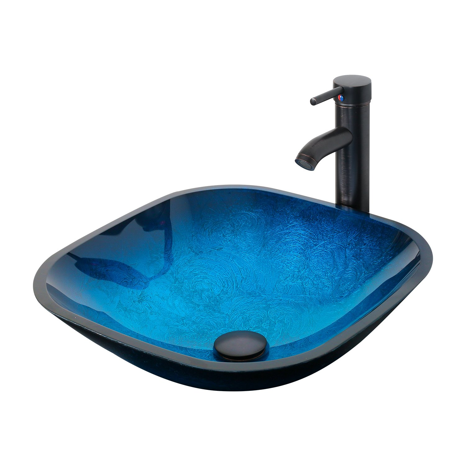 Eclife Ocean Blue Square Bathroom Sink Artistic Tempered Glass Vessel Sink Combo with Oil Rubber Bronze Faucet and Pop up drain Bathroom Bowl A04