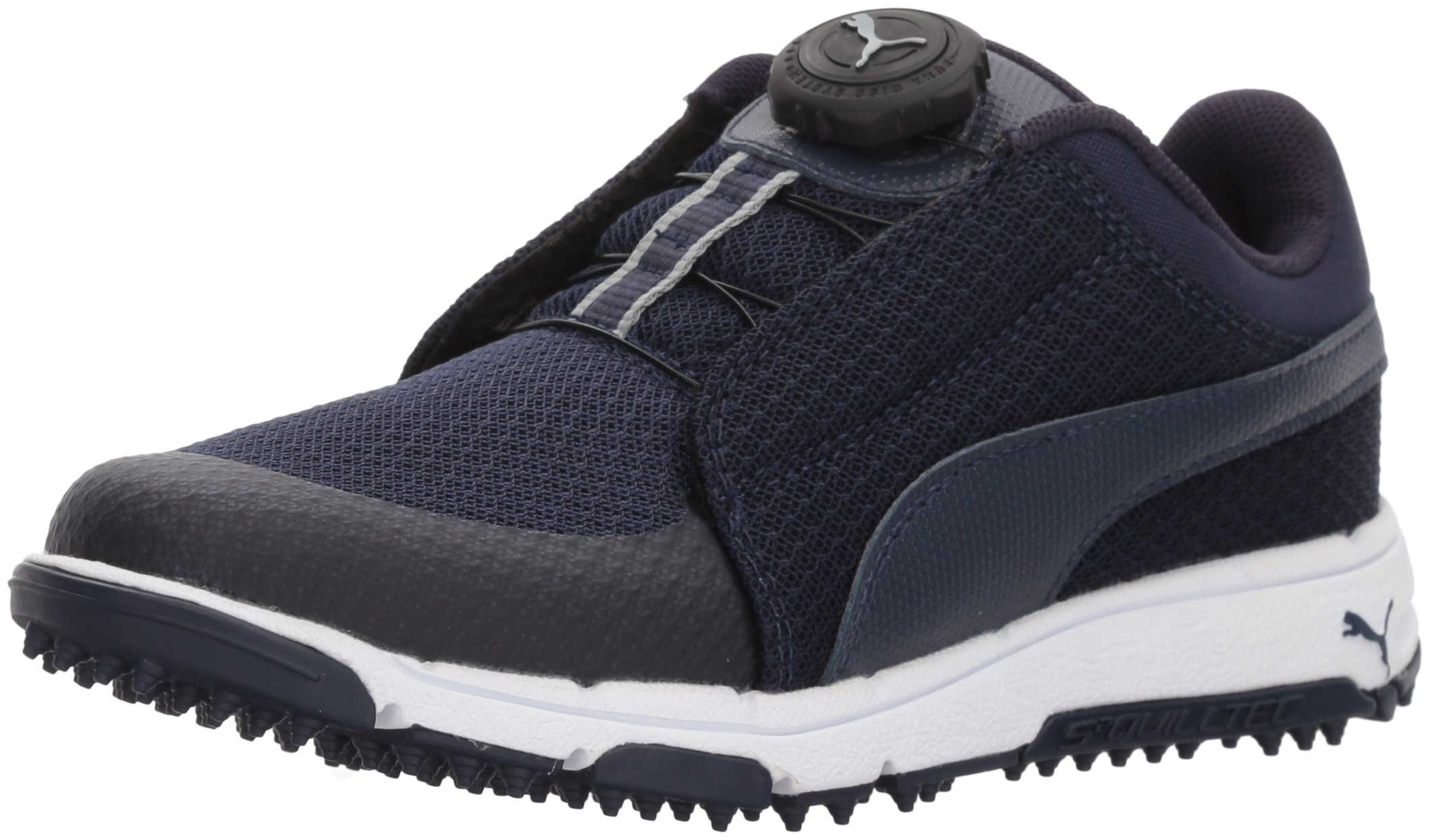 PUMA Golf Boys' Grip Sport Disc Golf Shoe, Peacoat/Peacoat/Quarry, 5 Youth US Big Kid