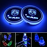 2pcs LED Car Cup Holder Lights for Dodge RAM, 7 Colors Changing USB Charging Mat Luminescent Cup Pad, LED Interior Atmosphere Lamp