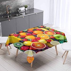 ELSE CARPET Red Apple Orange Fruits Green Kiwi Strawberry Decor Tablecloth, Illustration of Print, Rectangular Table Cover for Dining Room Kitchen 55