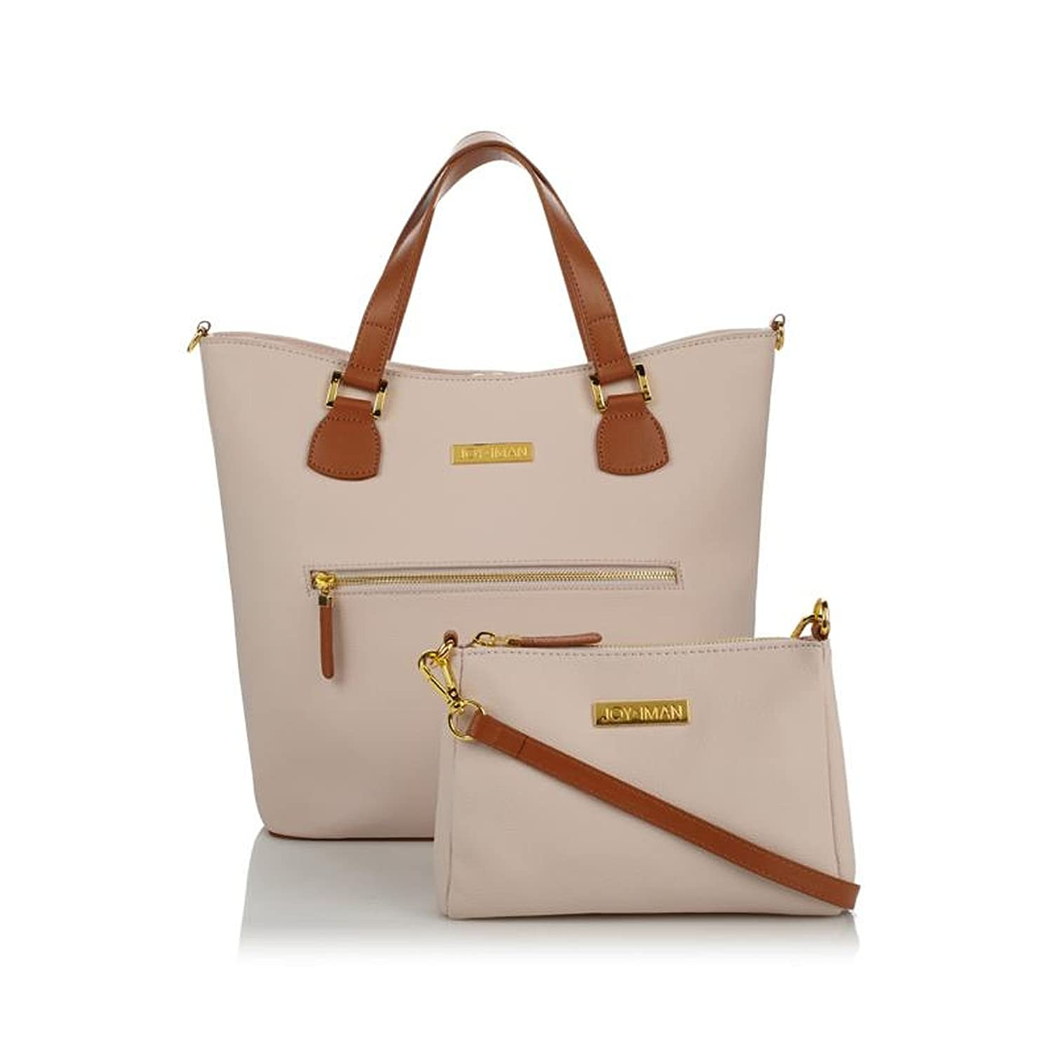 c388b8c5b032 JOY   IMAN Alexandria Leather Tote and Crossbody Zip Pockets Blush ...