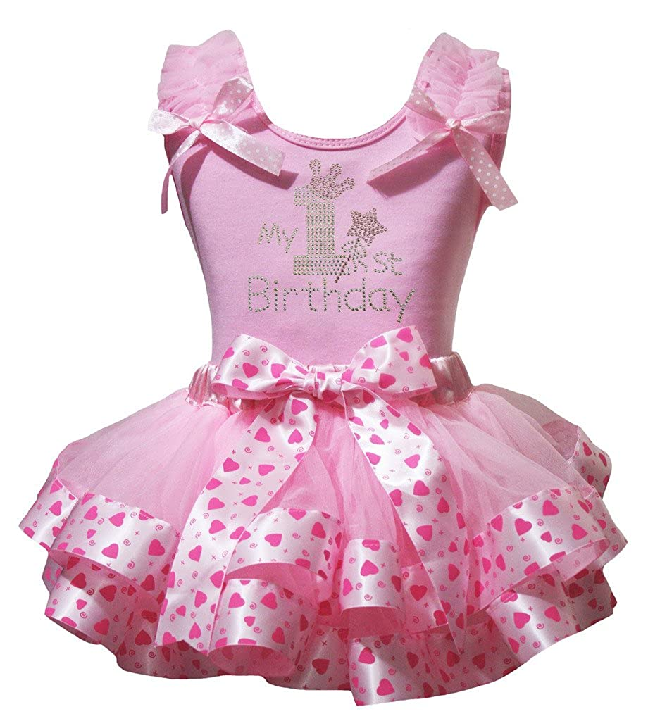 Petitebella My 1st Birthday Shirt Pink Valentine Heart Petal Skirt Outfit Nb-8y