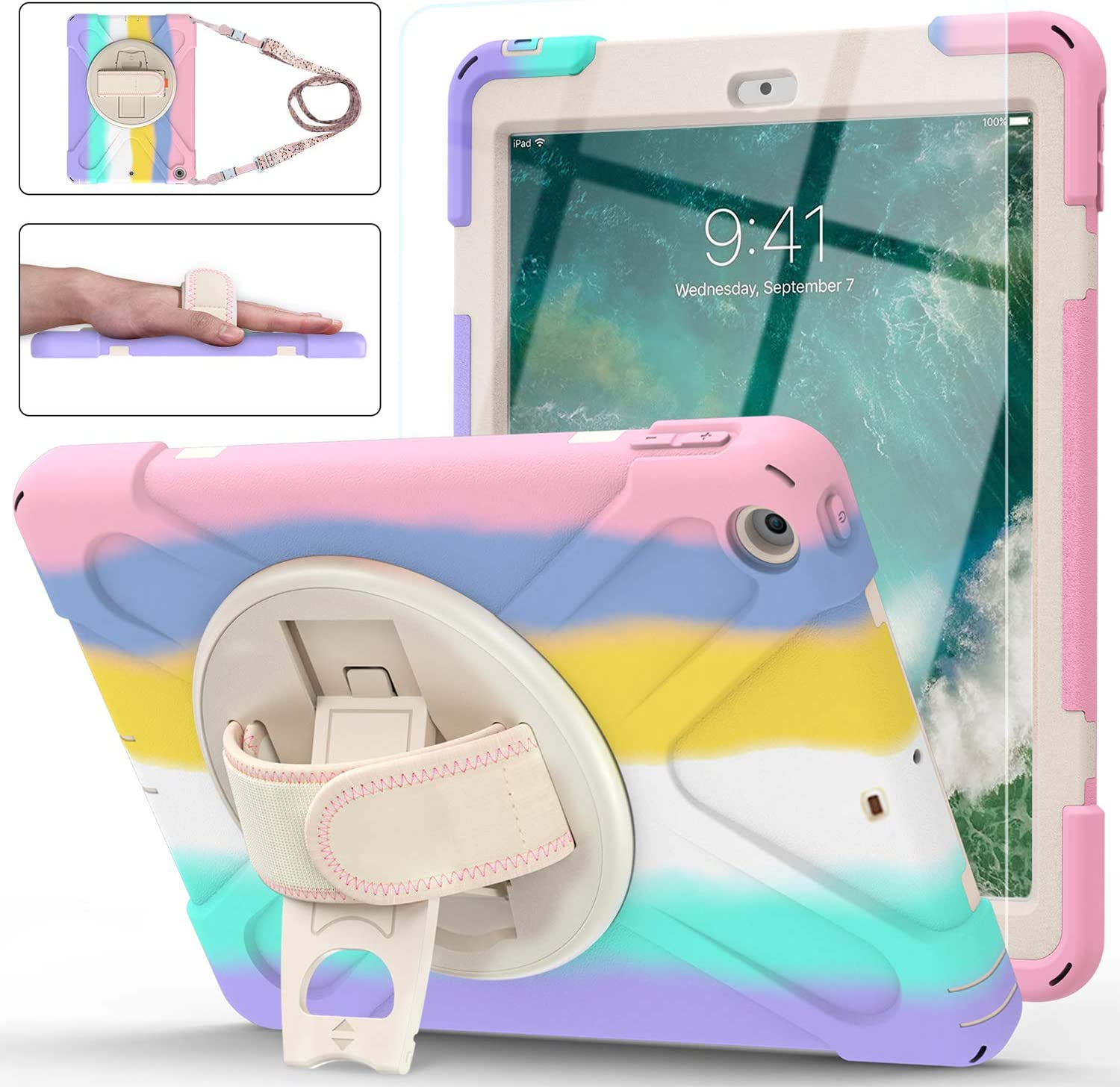 iPad 6th/5th Generation Case, New iPad 9.7 Case 2017/2018, [Kid Proof] Ambison Full Body Protective Case with Tempered Glass Screen Protector, Pencil Holder, Shoulder Strap, Hand Strap (Light Rainbow)