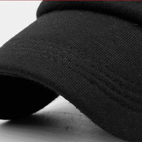 Tinksky Gorra de béisbol con visera plana y algodón en pico unisex Sombrero de estilo militar cálido para hombres y mujeres (negro) o00HPtGAT