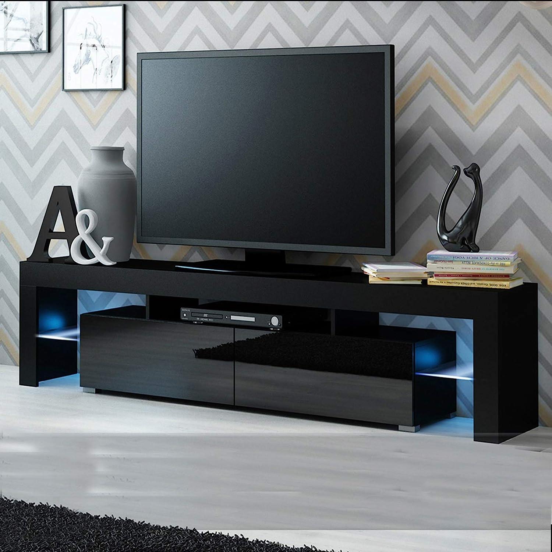 bianco grigio. nero Mobile TV per salotto moderno a LED grande armadietto bianco opaco frontale lucido con luci LED in legno per animazione stand TV nero 120 x 40 x 30 cm Black