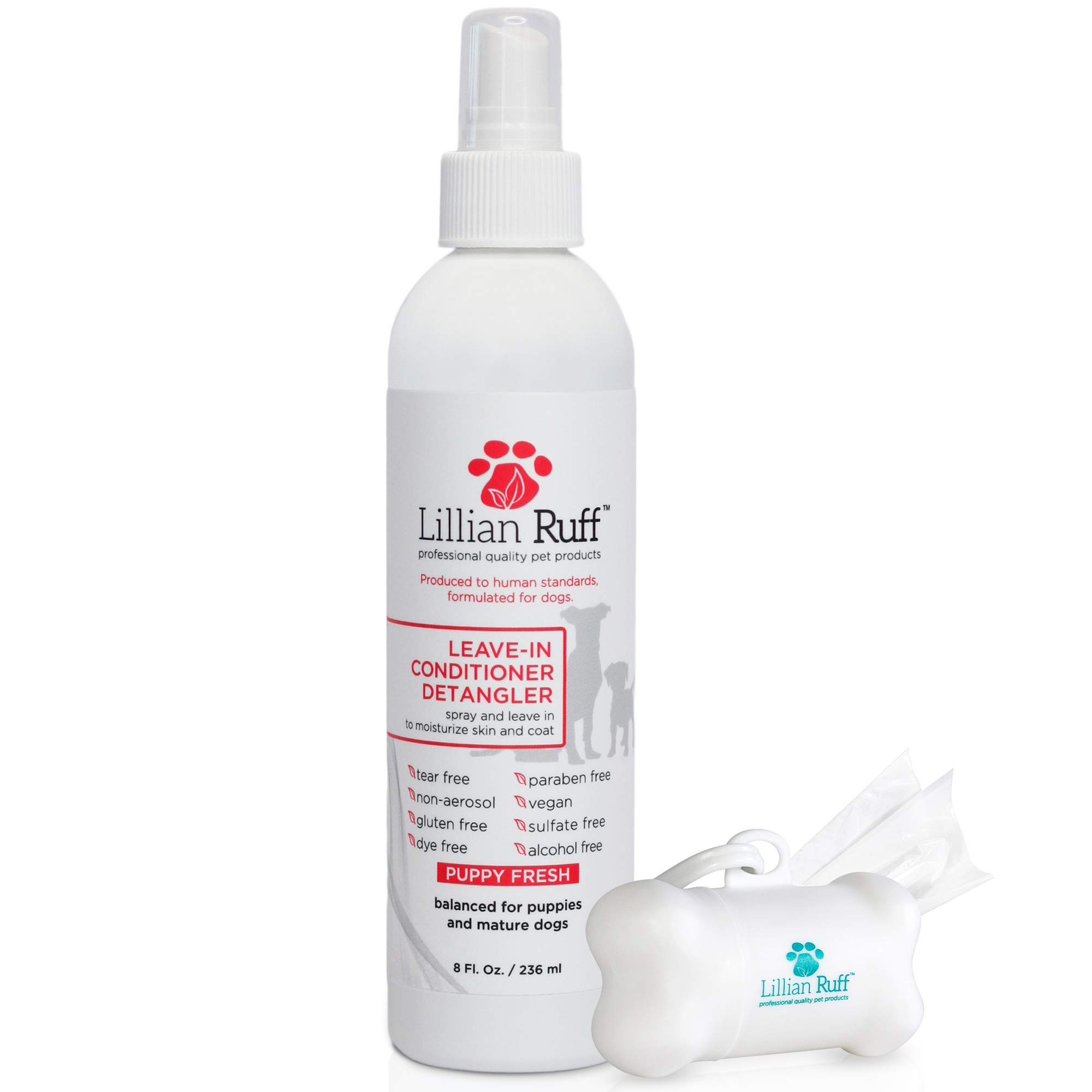 Lillian Ruff - Pet Dog Leave in Conditioner & Detangler Treatment Spray 8oz - Moisturizer Normal, Dry & Sensitive Skin - Made In The USA (8oz)