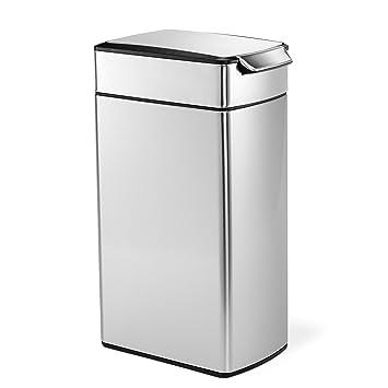 Amazon.com: Simplehuman Bote de basura estrecho rectangular ...