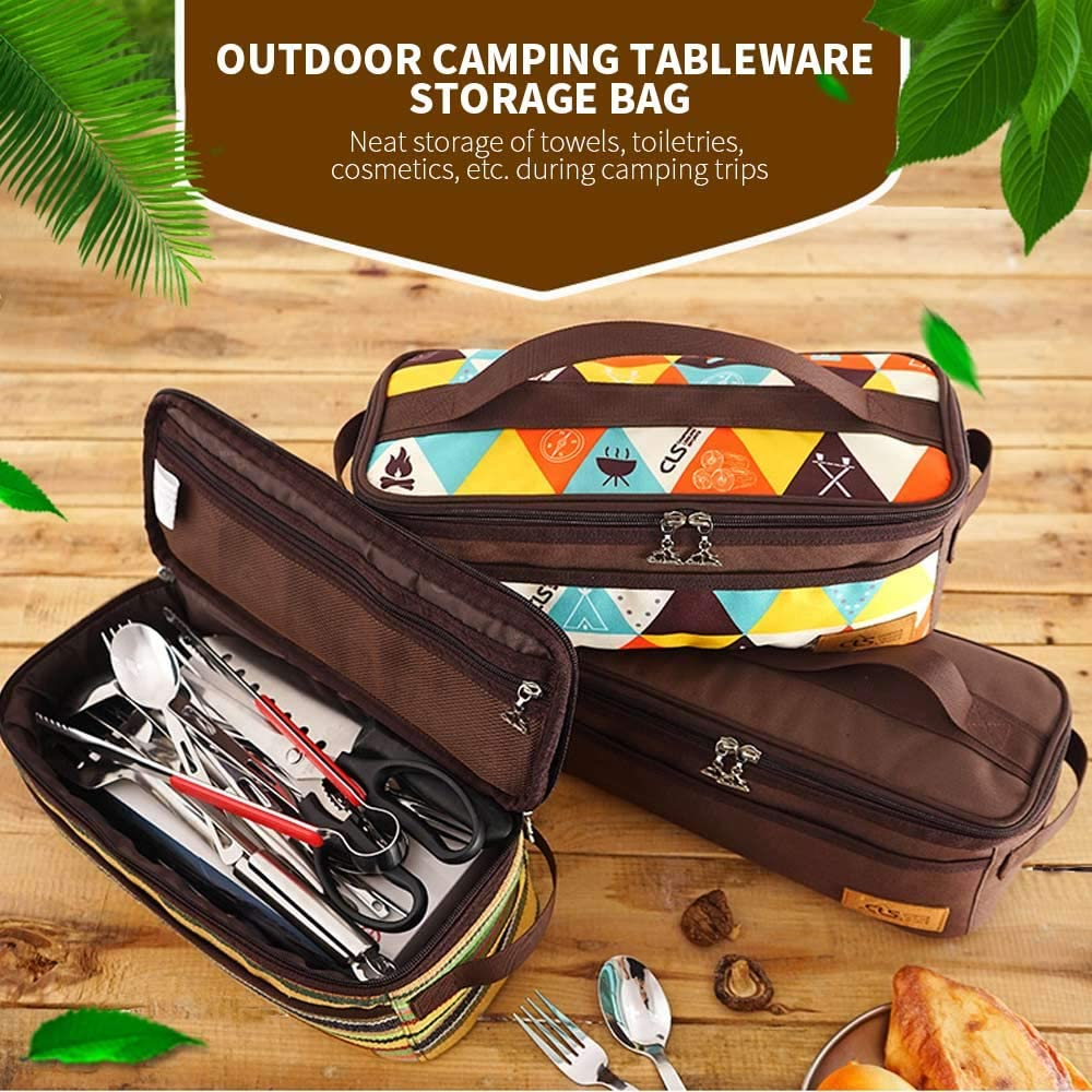 Chnrong Camping Travel Cooking Utensils Organizer Travel Bag Portable Pouch Bag for BBQ Camp Cookware Kitchen Celebrity stripes