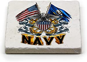 Natural Stone Coasters – United States Navy Gifts for Men or Women – US Navy Beverage & Beer Coasters – US Navy Shield Double Flag Eagle (1 Piece)