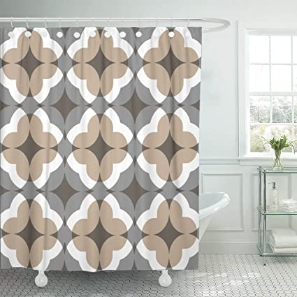 Accrocn Waterproof Shower Curtain Curtains Fabric Tan And Gray Floral Clover Pattern 36x72 Inches Decorative Bathroom