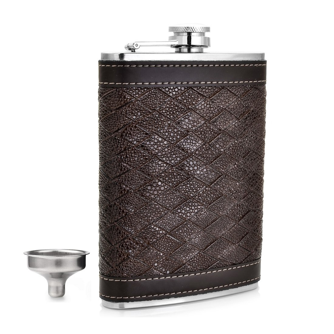 GENNISSY 9 OZ Brown Woven Hip Flask - PU Leather Stainless Steel Men Flasks for Liquor with Funnel