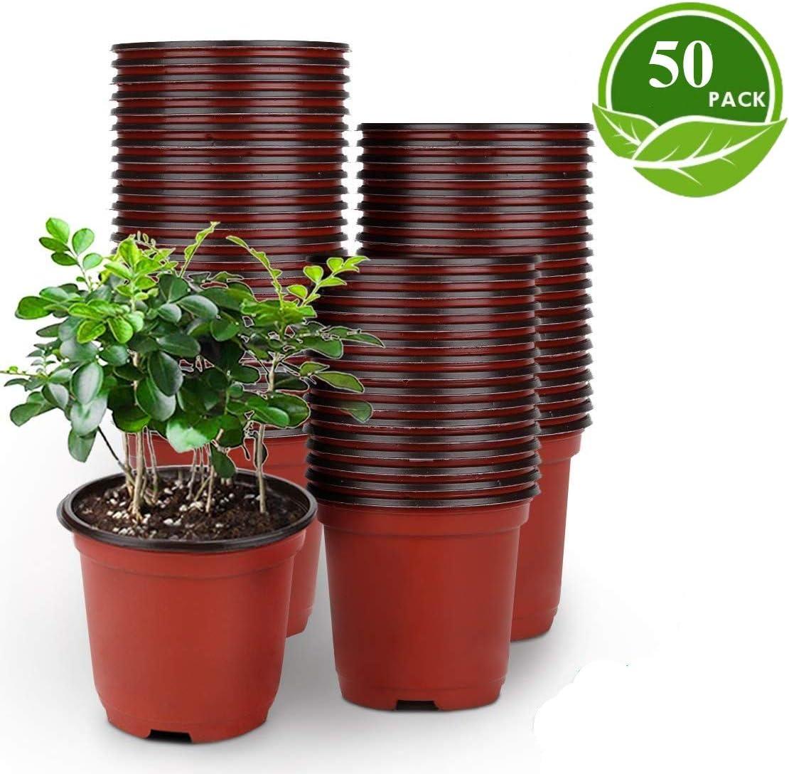 LATERN 50Pcs 15cm Macetas de Plástico para Plantas Macetas de Inicio de Semillas Livianas Macetas de Vivero Macetas Contenedor de Plantas de Flores(15 x 13 cm)