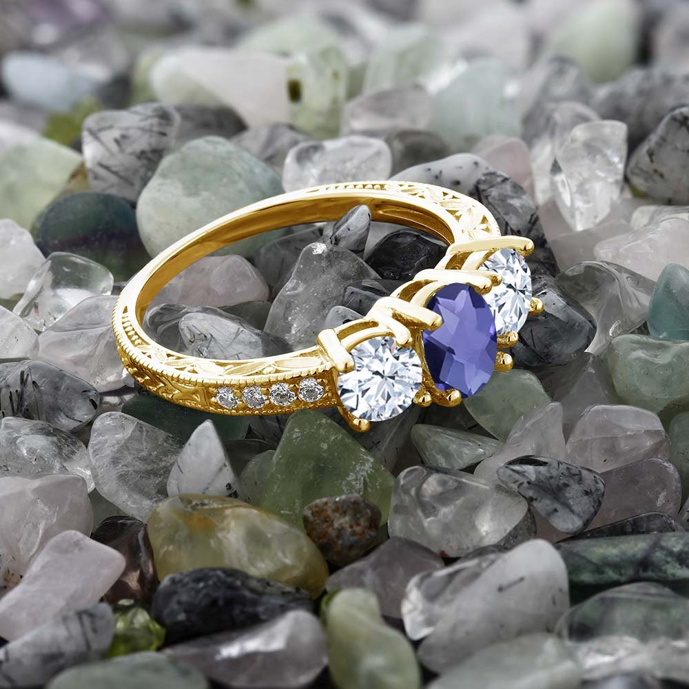 Gem Stone King 2.27 Ct Oval Checkerboard Blue Iolite 18K Yellow Gold Plated Silver Ring