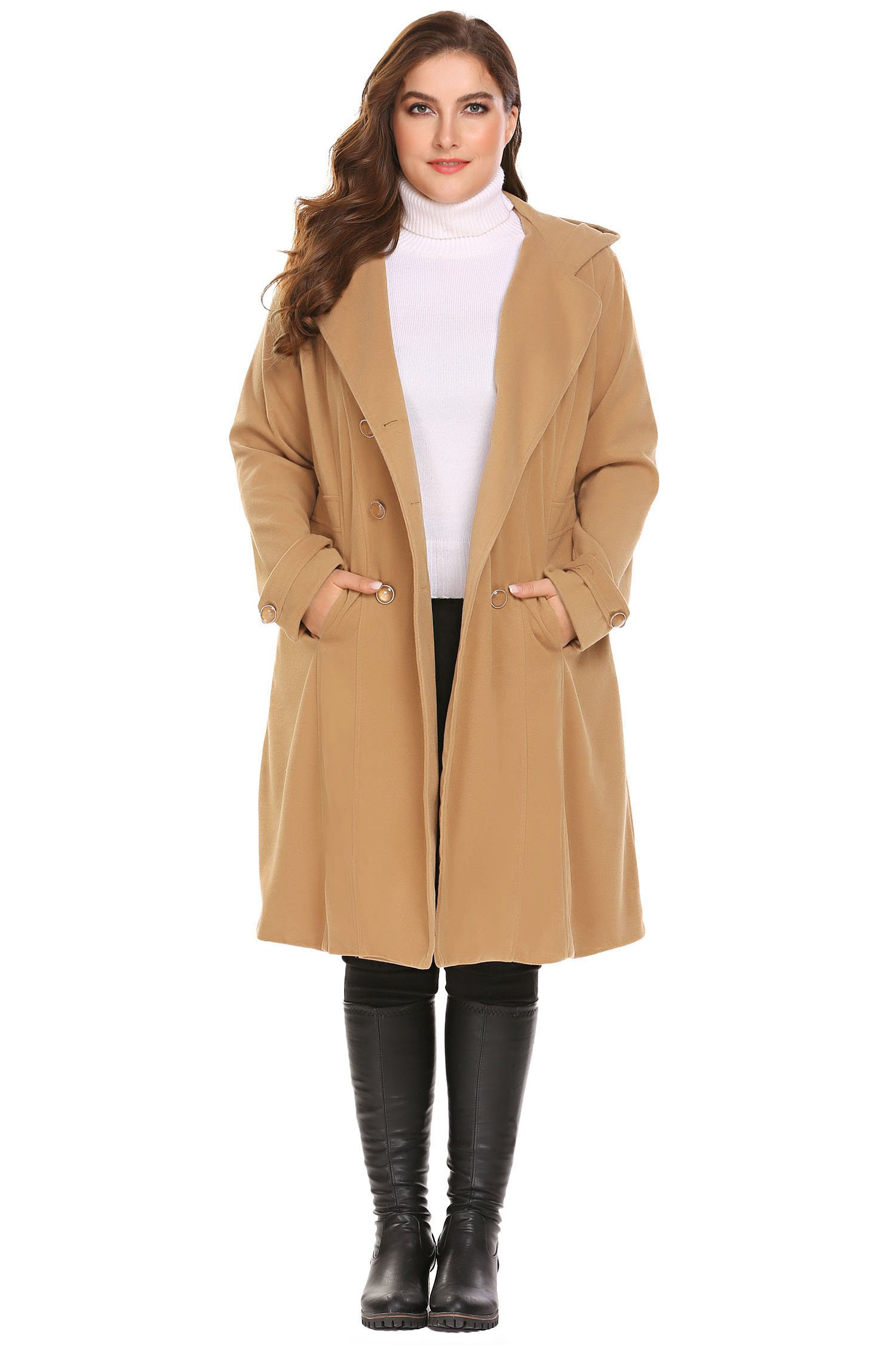 Zeagoo Women Plus Size Double Breasted Wool Elegant Long Lined Lightweight Trench Coat (16W-24W)