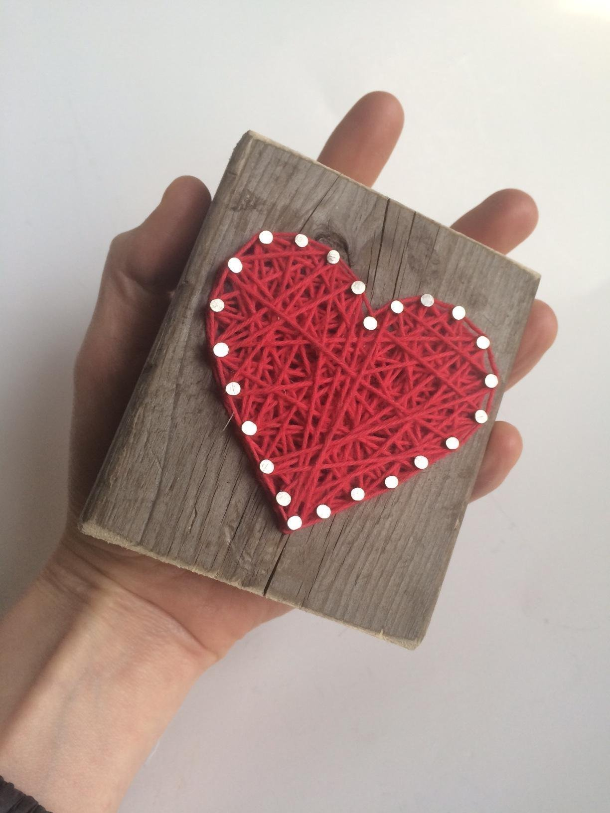Sweet and small rustic wooden aqua string art heart block. Unique gift Easter baskets, for Father's Day, Weddings, Anniversaries, Birthdays, Christmas, housewarming and just because gifts. by Nail it Art (Image #5)