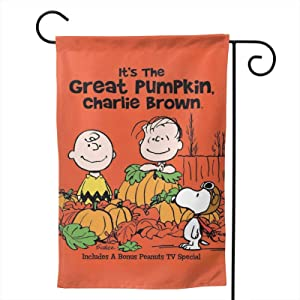 Stockdale Peanuts Halloween Pumpkin Garden Flag 2-Sided House Decorative Seasonal Flag for Home Yard