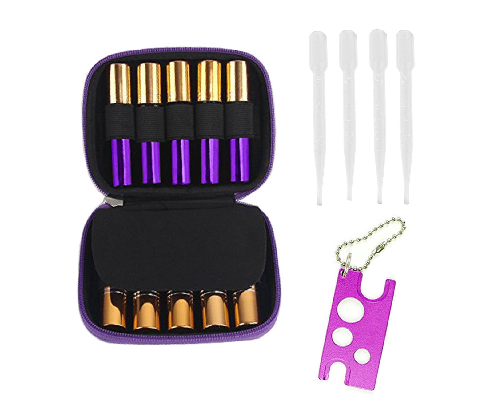 Essential Oil Carrying Case for 10-Bottle - 15ml 10ml 5ml Roller Bottles Travel Storage Bag, 1pcs Metal Essential Oils Opener with keychain,4pcs 3 ml Droppers included,Purple